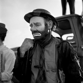 "Vivian-Maier-Emmett-Kelly-as-the-clown-figure-""Weary-Willie"""