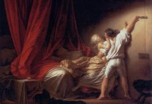 Jean-Honoré Fragonard, « Le Verrou », 1777, œuvre cité dans l'ouvrage pour illustrer la confusion culturellement admise entre une «scène galante» et un viol