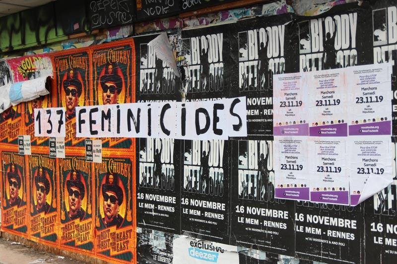 Un collage visible lors de la marche du 23 novembre 2019