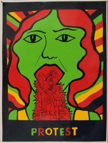 See Red Women's Workshop 1973 En 1973, Pru Stevenson crée cette affiche choc : elle vomit les clichés associés aux femmes. En 1974, elle rejoint le See Red Women's Workshop, collectif qui fait de la lutte contre les images négatives associées aux femmes, dans les médias et la publicité, sa priorité. L'affiche est adoptée par le groupe.